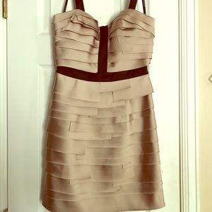 Tan and black ruffle Bebe cocktail dress